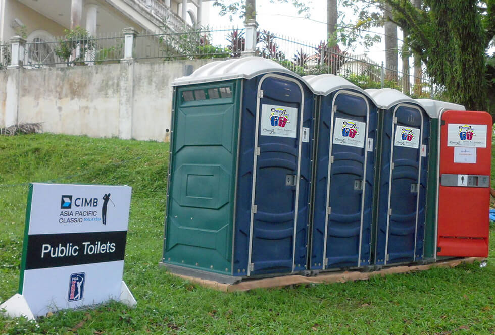 Portable Toilet rented out for a golfing event in KL, Malaysia